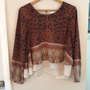 Fourteenth Place brown geometric top